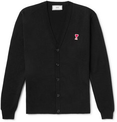 AMI Slim-Fit Logo-Appliquéd Merino Wool Cardigan