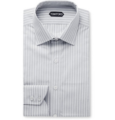 TOM FORD Grey Slim-Fit Striped Cotton-Poplin Shirt