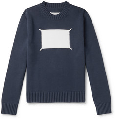Maison Margiela Embroidered Intarsia Cotton-Blend Sweater