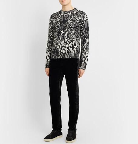Slim Fit Leopard Jacquard Wool Blend Sweater by Saint Laurent