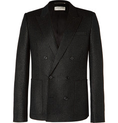Saint Laurent Black Double-Breasted Metallic Pinstriped Wool-Blend Blazer