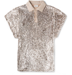 Saint Laurent Sequinned Metallic Stretch-Jersey Polo Shirt