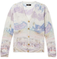 AMIRI Distressed Tie-Dyed Cashmere Cardigan