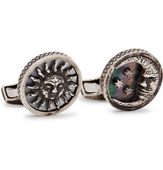 TATEOSSIAN Burnished Sterling Silver and Mother-of-Pearl Cufflinks