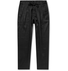 Monitaly Black Pleated Linen Drawstring Trousers