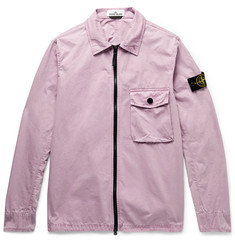 Stone Island Garment-Dyed Brushed Cotton-Canvas Zip-Up Overshirt