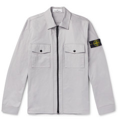 Stone Island Logo-Appliquéd Cotton-Blend Twill Zip-Up Overshirt