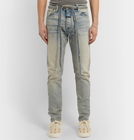Slim Fit Tapered Distressed Denim Jeans by Fear Of God