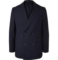 Officine Generale Navy Leon Unstructured Double-Breasted Wool Blazer