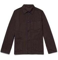 Officine Generale Indigo-Dyed Striped Cotton Chore Jacket