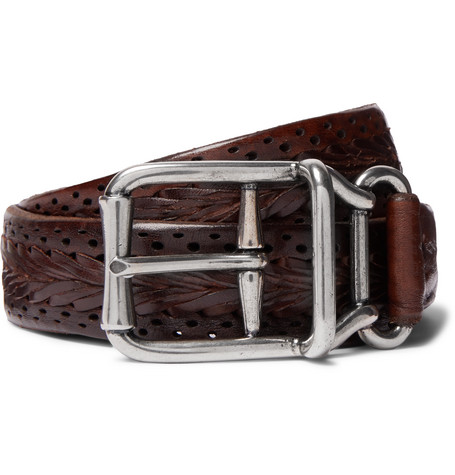 Brunello Cucinelli 4cm Brown Woven Leather Belt