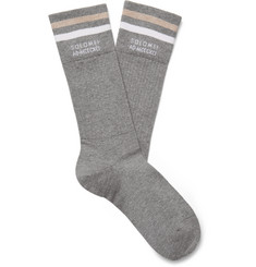 Brunello Cucinelli Logo-Intarsia Striped Ribbed Mélange Cotton Socks