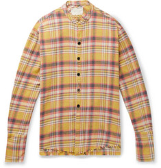 Greg Lauren Lasso Distressed Checked Cotton-Flannel Shirt