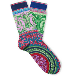 Versace Printed Cotton-Blend Socks