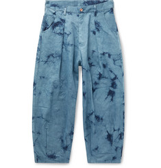 Story Mfg. Wide-Leg Pleated Tie-Dyed Organic Denim Jeans