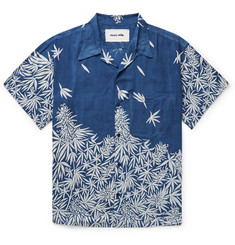 Story Mfg. Shore Camp-Collar Printed Indigo-Dyed Tencel Shirt