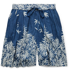 Story Mfg. Bridge Wide-Leg Printed Indigo-Dyed Tencel Drawstring Shorts