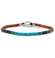 Mikia Coral, Turquoise and Sterling Silver Beaded Bracelet