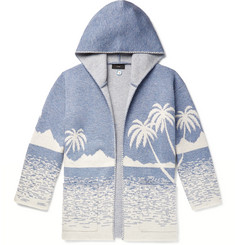 Alanui Virgin Wool-Jacquard Hooded Cardigan
