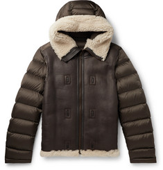 Ten C Shearling-Trimmed Quilted Shell Hooded Down Liner