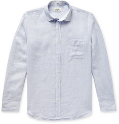 Hartford Slim-Fit Pinstriped Slub Linen Shirt