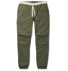 Beams Plus Slim-Fit Tapered Grosgrain-Trimmed Cotton-Blend Ripstop Drawstring Trousers