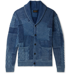 Beams Plus Patchwork Shawl-Collar Cotton Cardigan