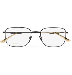 Gucci Square-Frame Black and Gold-Tone Optical Glasses