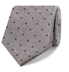 Bigi 8cm Embroidered Silk and Wool-Blend Faille Tie