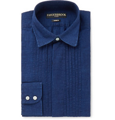 Favourbrook Indigo Bib-Front Cotton and Linen-Blend Shirt