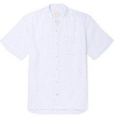 Oliver Spencer Grandad-Collar Striped Linen Shirt