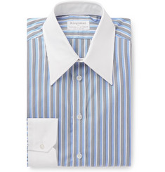 Kingsman - + Turnbull & Asser Rocketman Blue Slim-Fit Striped Cotton Shirt