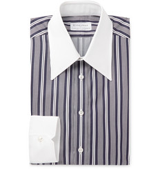 Kingsman - + Turnbull & Asser Rocketman Navy Slim-Fit Striped Cotton Shirt