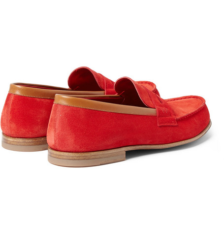 J.m. Weston 281 Le Moc Suede Loafers In Red