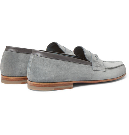J.m. Weston 281 Le Moc Suede Loafers In Gray