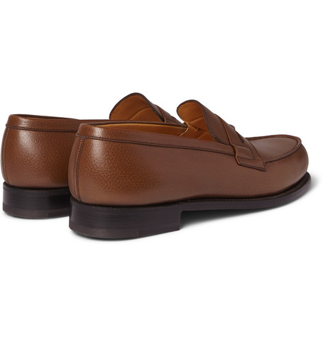 J.m. Weston 180 The Moccasin Grained-leather Loafers In Brown