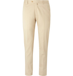 Caruso Light-Beige Pleated Cotton-Blend Twill Trousers