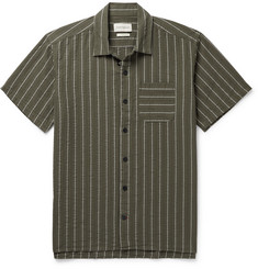 Oliver Spencer Camp-Collar Striped Organic Cotton-Seersucker Shirt