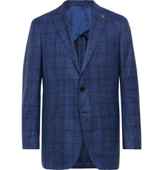Peter Millar Navy Napoli Checked Wool, Silk and Linen-Blend Blazer