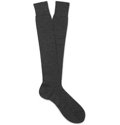 Maximilian Mogg Ribbed Mélange Merino Wool Over-the-Calf Socks
