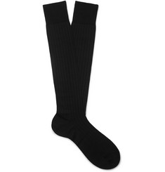 Maximilian Mogg Ribbed Silk-Blend Over-the-Calf Socks