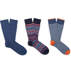 Marcoliani Three-Pack Cotton-Blend Socks