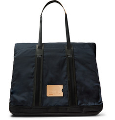 Bleu de Chauffe Barda Leather-Trimmed Waxed Cotton-Ripstop Tote Bag