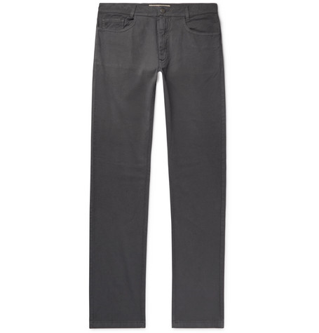 120% Anthracite Slim-Fit Stretch Cotton and Linen-Blend Trousers