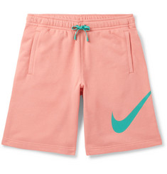 Nike Wide-Leg Logo-Print Loopback Cotton-Blend Jersey Shorts