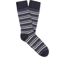 Oliver Spencer Loungewear Miller Striped Stretch Cotton-Blend Socks