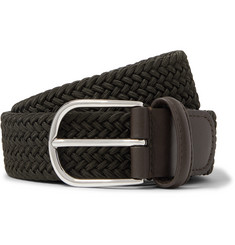 Anderson's 3.5cm Green Leather-Trimmed Woven Elastic Belt