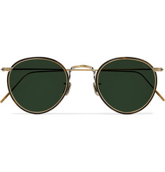 Eyevan 7285 Windsor Round-Frame Gold-Tone and Tortoiseshell Acetate Polarised Sunglasses