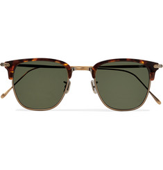 Eyevan 7285 Square-Frame Tortoiseshell Acetate and Gold-Tone Polarised Sunglasses