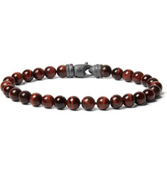David Yurman Tiger's Eye Sterling Silver Beaded Bracelet